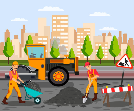 Roadwork, Asphalt Paving Flat Color Illustration. Men in Overalls Cartoon Characters. Heavy Asphalting Machinery. Special Transport, Pavement Compactor. Construction Industry, Building Business