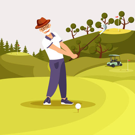 Happy Senior Bearded Man in Uniform Playing Golf Putting and Celebrating Successful Shot Hitting Ball Down Hill Towards Horizon. Golf Swing On Green Playing Course. Cartoon Flat Vector Illustration.