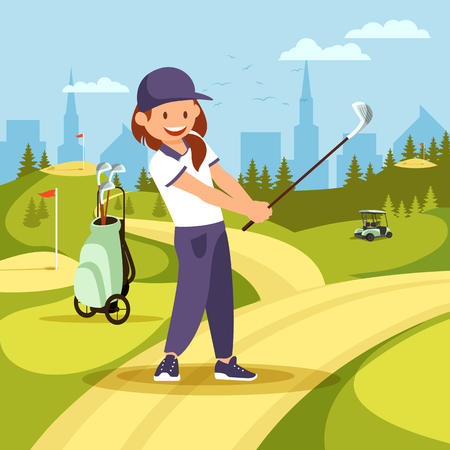 Young Girl Golf Player in White Shirt Take Swing on Course with Flags, Green Grass, Sand Bunkers on City View Background. Woman Golfer Holding Club Hitting Long Shot. Cartoon Flat Vector Illustration.