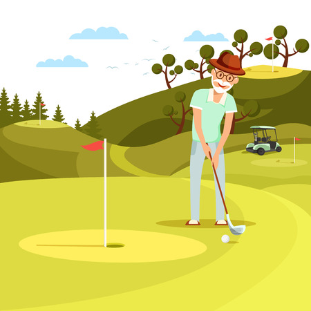 Aged Concentrated Man Shooting Ball to Hole on Beautiful Summer Landscape Background. Relaxing Elderly Person Play Golf at Countryside Golfclub on Beautiful Green Lawn Cartoon Flat Vector Illustration