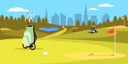 Bag with Clubs Standing on Golf Field with Hole, Red Flag, Lake and Cart on Blue Sky and Cityscape Background. Golfclub Competition, Tournament, Championship Panorama View. Flat Vector Illustration.
