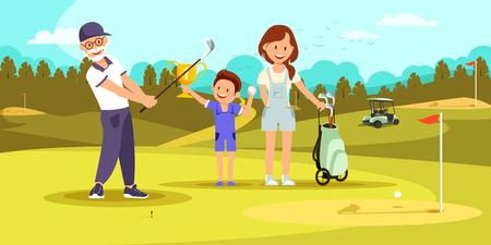 Aged Concentrated Man Shooting Golf Ball While Playing at Green Course. Young Woman and Little Boy Cheering Up. Family Spending Time Together on Weekend at Golfclub. Cartoon Flat Vector Illustration. Ilustração