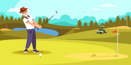 Golfista envejecido golpeando el tiro largo en el fondo hermoso del paisaje del campo de golf. Anciano jugar solo en verano. Estilo de vida saludable. Cartoon Flat Vector Illustration Cartoo? Ilustración vectorial plana