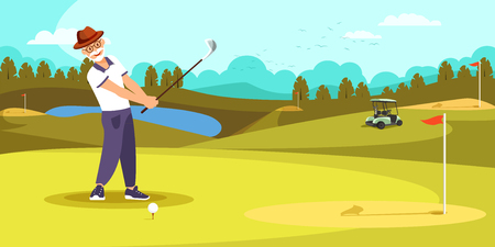 Aged Golfer Hitting Long Shot on Beautiful Golf Course Landscape Background. Elderly Man Play Alone at Summer Time. Healthy Lifestyle. Cartoon Flat Vector Illustration Cartoo? Flat Vector Illustration Illustration