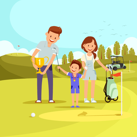 Man Giving Gold Goblet with Number One to Little Happy Boy with Medal Holding Ball and Club. Woman Stand Nearby with Sport Equipment. Rewarding of Tournament Winner. Cartoon Flat Vector Illustration.
