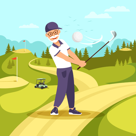 Front View of Mature Bearded Man in Uniform and Cap Playing Golf with Club and Ball at Green Lawn. Retired Aged Male Person Healthy Active Lifestyle. Weekend Passtime, Cartoon Flat Vector Illustration Illusztráció