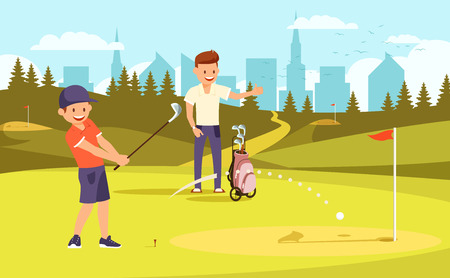 Junior Golfer Practicing on Driving Range, Father Watch Training. Dad and Son Passing Time Together Playing Golf at Summer Day. Family Leisure. Green Course Background Cartoon Flat Vector Illustration Vektoros illusztráció