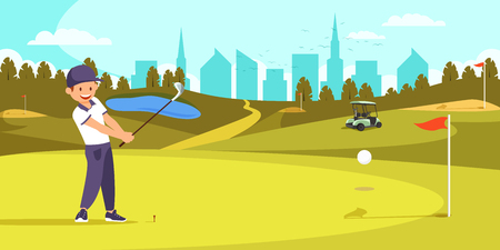 Male Golfer in Uniform Lining Up Tee Shot on Golf Course with Flag, Hole, Lake on City View Background. Countryside Resort, Golfclub. Healthy Lifestyle, Luxury Leisure Cartoon Flat Vector Illustration Ilustração