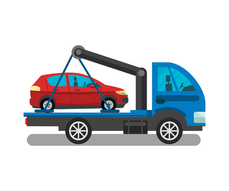 Cargo Transportation Service Flat Illustration. Commercial Trucking, Car Delivery Business Isolated Design Element. Tow Truck, Evacuator, Semi Trailer Delivering Minivan, Coupe in Side View Ilustração
