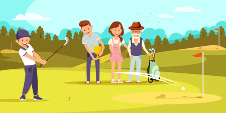 Happy Family on Golf Field in Summer Relaxing at Golfclub. Sports in Summertime. Outdoor Fun Activity. Healthy Lifestyle. Young and Old Generation Togetherness Concept Cartoon Flat Vector Illustration