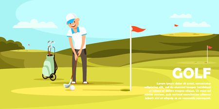 Young Man Wearing White Shirt and Cap Holding Golf Club Trying to Hit Ball and Put it in Hole on Playing Course with Green Grass in Summer Sunny Day Cartoon Flat Vector Illustration. Horizontal Banner 向量圖像