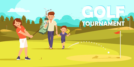 Girl Preparing for Another Blow in Game of Golf. Man Hold by Hand Little Boy Walk Across Green Field. Father Teaching Son to Play. Family Vacation. Cartoon Flat Vector Illustration. Horizontal Banner. Illustration