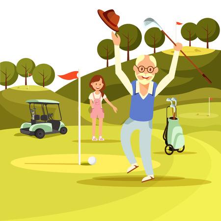 Felice gioioso uomo anziano che salta sul campo da golf verde con cappello e mazza in mano Rallegrati nel colpire la palla nel buco. Giovane donna in piedi vicino al carrello a guardare. Stile di vita attivo. Piatto di vettore del fumetto.
