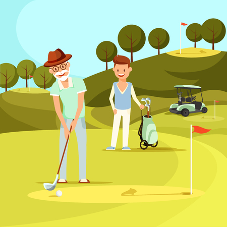 Smiling Bearded Senior Man in Hat Hitting Ball with Golf Club on Green Golf Field Trying to Put it into Hole. Young Man Stand near Cart and Watching. Active Lifestyle. Cartoon Flat Vector Illustration