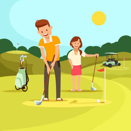 Young Couple of Man and Woman Playing Golf on Green Field at Sunny Day. Guy Hit Ball, Girl Watching Game. Sport Equipment and Golf Cart Stands Nearby. Family Leisure. Cartoon Flat Vector Illustration.