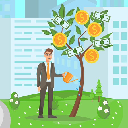 Business Development, Growing Startup Illustration. Entrepreneur in Glasses Cartoon Character. Business Watering Money Tree. Investment, Profit Growth, Financial Literacy Vector Color Drawing