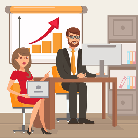 Entrepreneur and Personal Assistant Illustration. Businessman with Secretary Sitting on Chairs Cartoon Characters. Coworkers Discussing Business Metrics. Stock Market Analysis, Financial Literacy  イラスト・ベクター素材