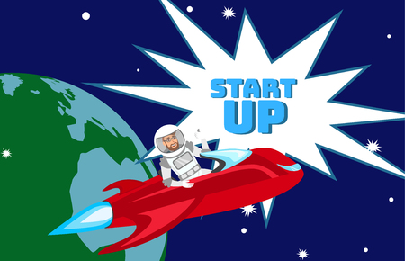 Impetuous Startup Launch Flat Color Illustration. Businessman in Space suit Sitting in Spaceship Cartoon Character. Ambitious Business Expansion Strategy. Spacecraft Vector Illustration with Lettering Illustration