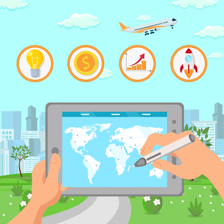 Global Business Expansion Planning Illustration. Hands Holding Tablet with World Map and Stylus., Profit, Capital Growth, Business Development Strategy. Financial Literacy Vector Drawing