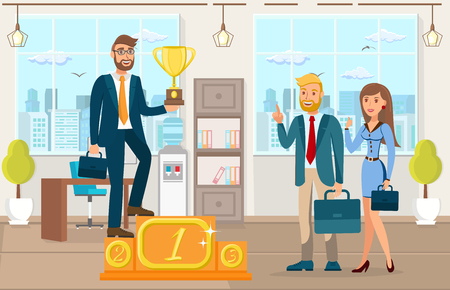 Achievement, Business Success Color Illustration. Businessman Standing on Pedestal Holding Trophy in Hand Cartoon Character. Entrepreneur Celebrating with Coworkers. Successful Business Development