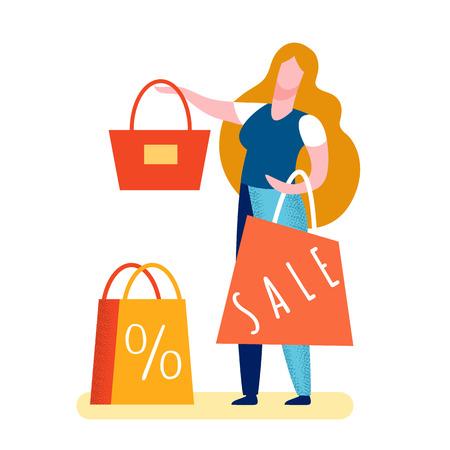 Femme vendant une illustration vectorielle plane de sac à main. Client satisfait achetant un fourre-tout avec remise. Ventes, offres spéciales pour les clients. Promotion bénéfique, publicité. Le plus bas, le meilleur prix