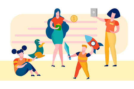 Mother with Children in Shop Vector Illustration. Girl and Boy in Toys Store. Sister and Brother Cartoon Characters. Siblings Playing with Toys. Seller, Assistant Suggests Goods to Client