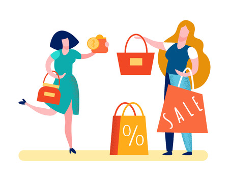 Happy Customer Paying Money Vector Illustration. Satisfied Buyer Cartoon Character. Woman Spending Salary in Accessories Shop. Golden Coins with Dollar Signs. Fashionable, Stylish Handbag Illustration