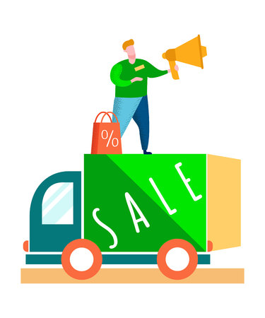 Successful PR Marketing Campaign Flat Illustration. Man Standing on Van and Making Announcement. Clearance Sales for Clients Advertisement. Male Cartoon Character with Loudspeaker. Green Truck