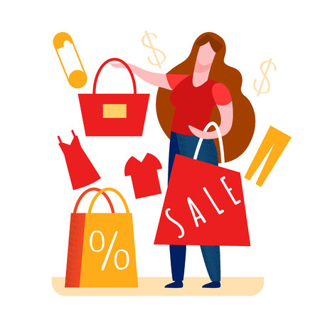 Woman Paying for Tote in Shop Vector Illustration. Customer Buying Goods. Dress, Jeans. Best Price for Handbag. Red Shopping Bag with Sale Word. Dollar, Currency Sign. Effective Marketing