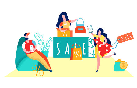 Consumerism, Shopaholism Flat Vector Illustration. Tired Boyfriend Waiting for Girlfriend in Mall. Couple in Luxury Boutique, Showroom. Effective Merchandising, Profitable Promotion