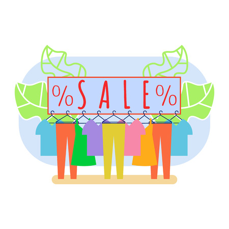 Clothing Shop Clearance Sale Vector Illustration. Men and Women Clothes Hanging on Rack. Summer Dress on Hanger. Seasonal Discount, Special Offer in Store. Showroom, Boutique. Thrift Shop