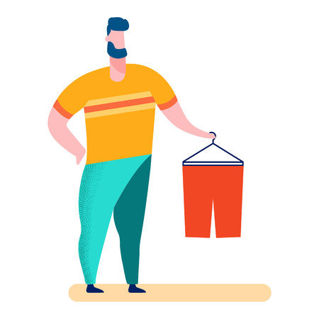 Man in Clothes Shop, Mall Vector Illustration. Guy Choosing Shorts Size. Customer Buying Swimwear. Red Trousers on Hanger. Seller Offers Jeans. Sales Assistant, Employer Working in Store
