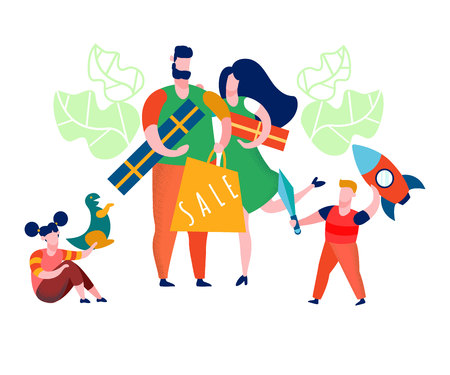 Family Getting Presents Flat Vector Illustration. Siblings Playing with Toys. Attractive Sales for Holidays, Birthday Gifts. Mother, Father, Son, Daughter Characters in Shopping Mall. Day Off Illusztráció