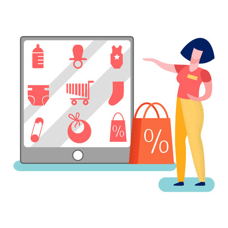 Store Worker Promoting Goods Vector Illustration. Merchandiser Pointing on Products Assortment. Sales Assistant Offers Newborn Basics Goods. Woman Presenting Internet Shop Interface