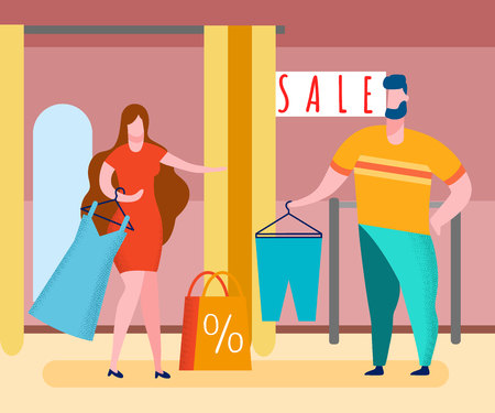 Clothes Shop Sale Cartoon Vector Illustration. Sales Assistant and Customer. Couple Shopping. Characters in Mall Fitting Room. Special Offer for Clothes. Shopping Bag, Dress on Hanger