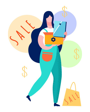 Satisfied Customer with Purchases Illustration. Woman Shopping in Electronics Store. Modern Devices Best Prices. Deals, Discounts for Clients. Woman Choosing Laptop, Tablet Vector Drawing