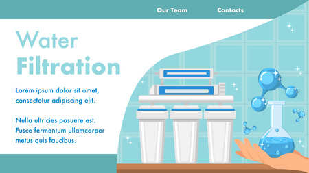 Water Filtration Landing Page Vector Template. Hand Holding Glass Bottle Web Banner with Text Space. Flask with Pure Water. Reverse Osmosis System. Clean Fluid with Bubbles. Models of Water Molecules