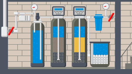 Water Treatment System Flat Vector Illustration. Filter in Cut. Liquid Purification Technology. Reservoir, Cooler with Drinkable Liquid. Plumbing Pipes in Basement. Pressure Gauge, Manometer