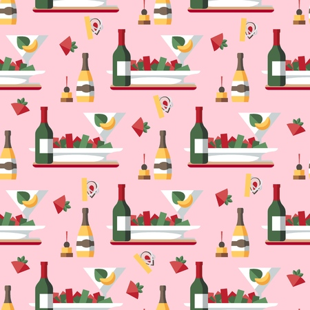 Restaurant Meal and Drinks Seamless Vector Pattern. Wine Bottles, Snacks, Appetizers, Dishes, Glasses. Food Items Background, Backdrop. Banquet. Wrapping paper, Kitchen Textile, Wallpaper Design Idea