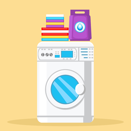 Modern Washing Machine Color Vector Illustration. Laundry Detergent, Washing Powder Package. Stack of Folded Towels Flat Clipart. Household Appliances Cartoon Design Element. Laundry, Bathroom
