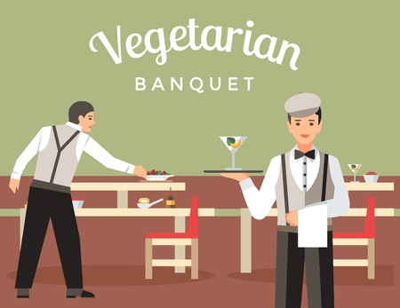 French Restaurant Flat Vector Banner Template. Waiter, Barman Setting Tables. Bartender Hold Tray with Cocktail. Vegetarian Banquet Calligraphy. Food serving. Vegan Cafe, Bistro, Restaurant, Eatery
