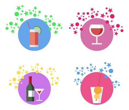 Beverages, Cocktails, Vector llustrations Set. Alcohol Bar Menu. Cocktail, Wine, Lemonade Glasses and Appetizers. Party Drinks, Aperitifs, Lemonade, Bottle of Wine Flat Isolated Design Element
