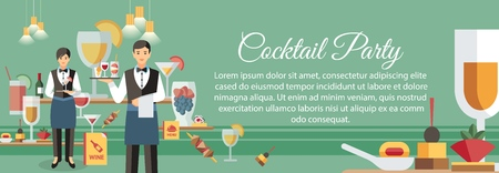 Cocktail Party with Appetizers Banner Template. Calligraphic Lettering with Text Space. Alcohol Drinks, Beverages. Waiters at Work. Party Celebration, Dining Service Flat Vector Illustration 일러스트