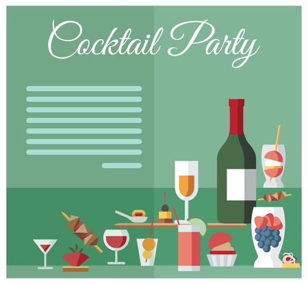 Party Celebration Drinks and Snacks Menu Layout. Appetizers, Wine Bottle and Delicatessen Flat Vector Illustration. Cocktail Party Lettering. Catering Service, Restaurant Banner, Poster Template Vector Illustration