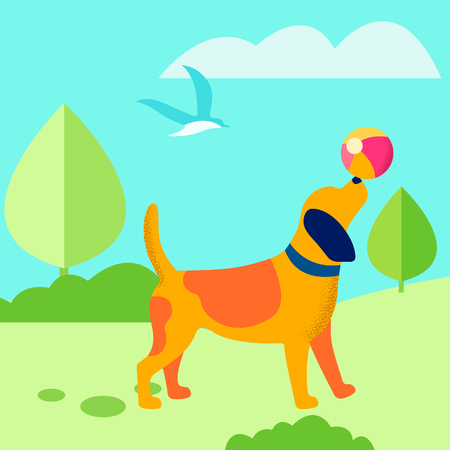 Puppy Playing Ball Outdoors Flat Vector Illustration. Cute Dog Enjoying Training in Fresh Air. Domestic Animal Summer, Spring Games, Tricks. Playful Pet Balancing Ball on Nose Cartoon Character