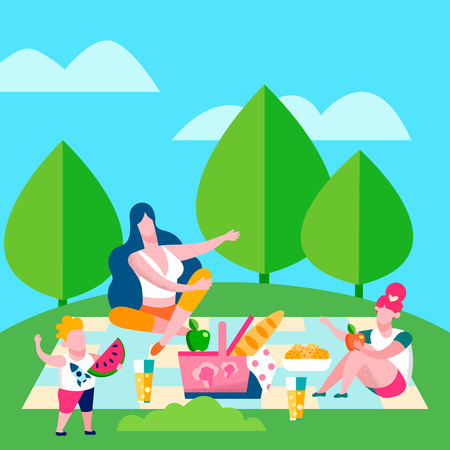 Mother and Kids Picnic, Flat Vector Illustration. Cartoon Woman, Children Enjoy Countryside Recreation. Summer Holiday, Weekend Outdoors. Toddler Son, Daughter, Siblings Tasting Fruits Vectores