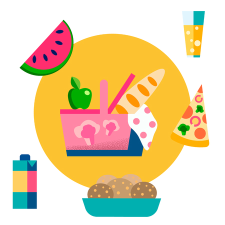 Picnic Basket, Food, Drinks Vector Illustration. Eating Outdoors. Fresh Air Breakfast, Lunch. Summer Vacation, Weekend Activities. Fruits and Vegetables. Snacks, Fast Food and Fizzy Drinks, Juice