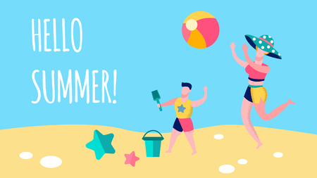 Mother, Child Seaside Game Flat Banner Template. Hello Summer Lettering, Typography. Lady Wearing Hat Plays Volleyball. Cartoon Boy Sand Fun with Bucket, Shovel. Family Vacation Vector Postcard Design