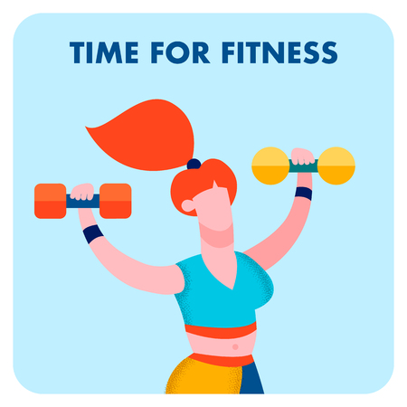 Time for Fitness, Sport Center Social Media Banner. Redhead Woman in Sportswear Cartoon Character. Sportswoman Working out with Dumbbells. Gym Training, Bodybuilding Illustration with Lettering