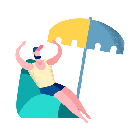 Man on Summer Vacation Flat Vector Illustration. Sporty Boy, Enjoying Sun Tan. Single, Bachelor Sitting in Inflatable Chair Cartoon Character. Seashore Relax, Leisure, Fun, Rest under Beach Umbrella